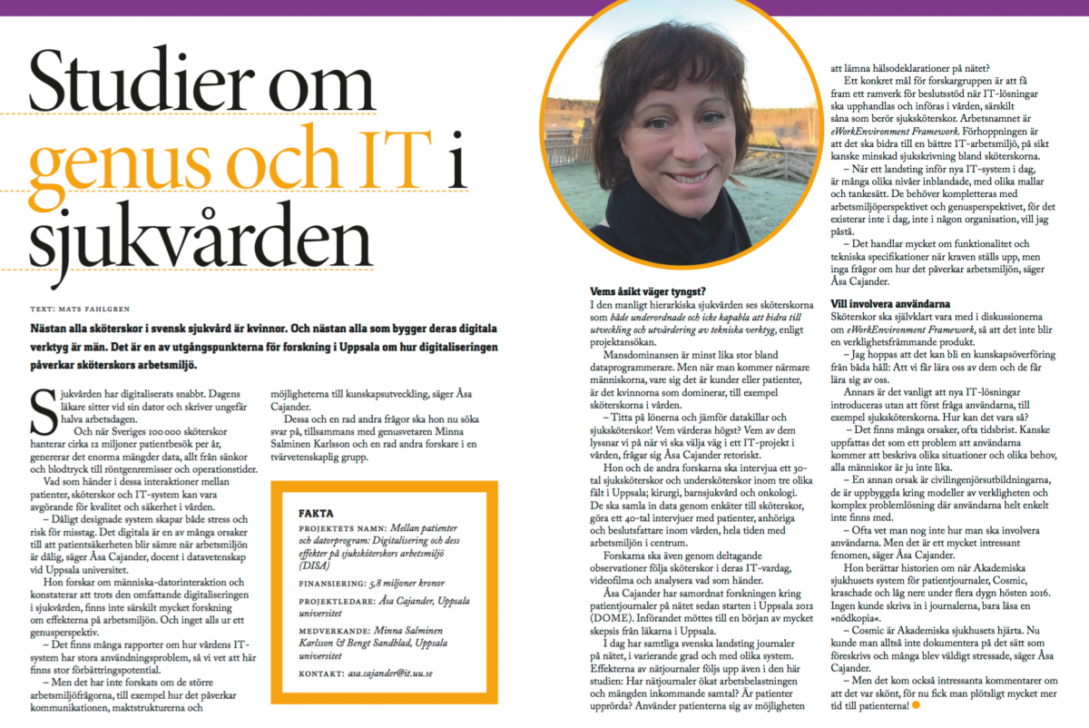 "Read about the Disa project in the folder ""10 projekt om arbetsmiljö i kvinnodominerade sektorer"""