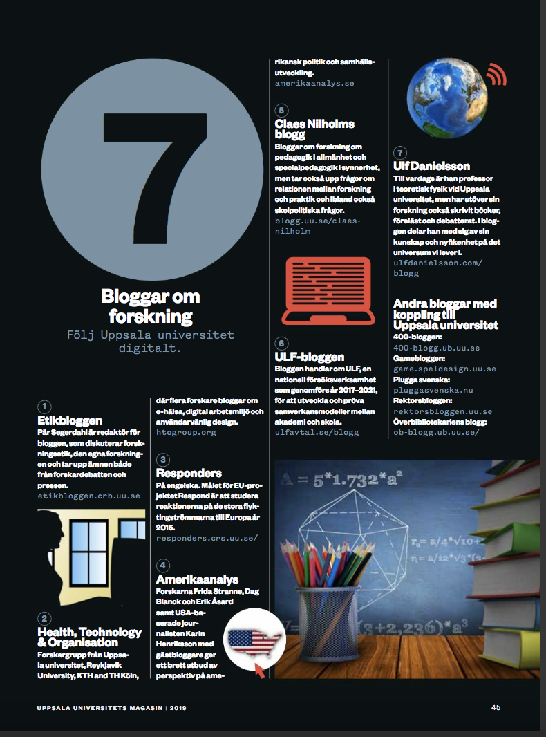 The HTO Blog was Recommended in Uppsala University Magazine – Health